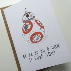 Valentines card  BB8 I Love You Card  Star Wars by StudioBoketto