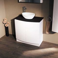 800 Vanity Unit for Bathroom Ensuite - Luxury Soft Closing White Bow Front Design - Modern Black Countertop - Deep Fill Storage Cupboard in Gloss Finish - MDF Cabinet, PVC Doors and Thick MDF Worktop - includes Internal Shelf (Dimensions - Height: 825 White Vanity Unit, Vanity Units, Better Bathrooms, Amazing Bathrooms, Ensuite Bathrooms, Bathroom Basin, Modern Bathroom, Bathroom Ideas, Mdf Cabinets
