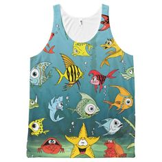 Cartoon Fish Underwater All-Over Print Tank Top Tank Tops