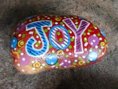 Items similar to Custom Hand painted JOY Small Garden Rock for Special Order on Etsy Stone Crafts, Rock Crafts, Arts And Crafts, Kid Crafts, Craft Projects, Pebble Painting, Love Painting, Small Garden Rocks, Hand Painted Rocks