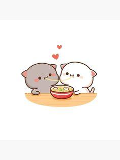 """ Peach and Goma Mochi Cat Eating Ramen"" Throw Pillow by misoshop | Redbubble Cute Anime Cat, Cute Bunny Cartoon, Cute Couple Cartoon, Cute Kawaii Animals, Cute Cartoon Pictures, Cute Love Pictures, Cute Love Cartoons, Cute Bear Drawings, Cute Animal Drawings Kawaii"
