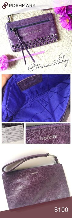 NEW Botkier Beyond Purple Pyramid Studded Wristlet Stunning !! Purple distressed leather with gunmetal hardware. Fits iPhone 6 Plus! One slip pocket inside and one zip pocket in front. Brand new , never used - received as gift. I don't have the tags but it's new and comes with a card, I think it's the quality inspection card. Botkier Bags Clutches & Wristlets