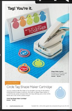 Creative Memories Shape Maker System This system was originally $55. While supplies last, you may purchase the Shape Maker System from my website for $25 and the circle tag cartridge is only $8. These won't last long. http://www.creativememories.com/user/tracy