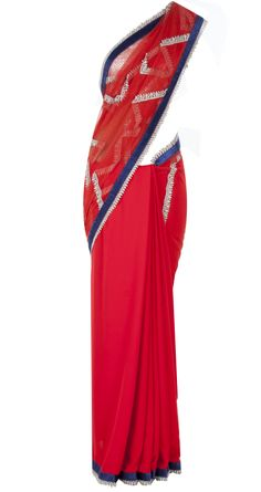 Red geometric pattern lace embellished sari available only at Pernia's Pop Up Shop.