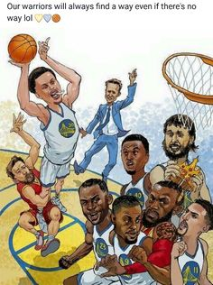 Awesome Golden State Warriors Illustration by Jeff Durham! Funny Nba Memes, Funny Basketball Memes, Mvp Basketball, Curry Basketball, Sports Memes, Basketball Quotes, Basketball Motivation, Basketball Stuff, Funny Sports