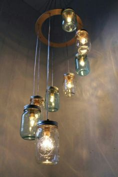 waterfall spiral mason jar chandelier handcrafted upcycled eco liked on polyvore featuring home lighting ceiling lights fillers blue chandelier austin mason jar pendant lamp