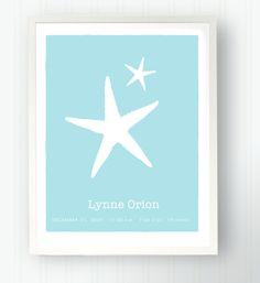 Nautical Starfish Baby Name Birth Childs Room Keepsake Print. $35.00, via Etsy.