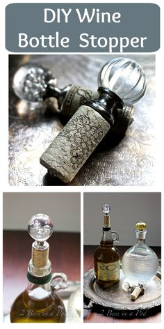 DIY Wine Bottle Stopper - perfect gift idea for housewarming, Christmas, dinner party. Great way to create a unique DIY wine bottle stopper. This would definitely be a conversation piece for your next gathering. Wine Craft, Wine Cork Crafts, Wine Bottle Crafts, Diy Bottle, Bottle Art, Beer Bottle, Wine Decor, Wine Bottle Stoppers, Altered Bottles