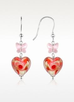 House of Murano Vortice - Pink Swirling Murano Glass Heart Earrings
