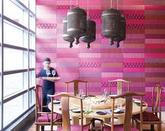The bold and the beautiful. @Four Seasons Hotel Mumbai's San-Qi Restaurant wears vivid pink Indian textiles.