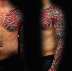 Male Full Sleeves Classic Haida Tattoo