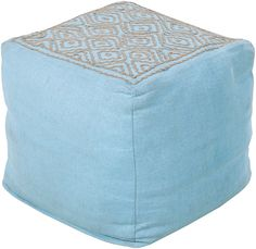 Aqua & Taupe Linen Pouf Ottoman. Click for our free shipping offer through Pinterest!
