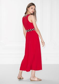 & Other Stories image 3 of Embroidery Maxi Dress in Red