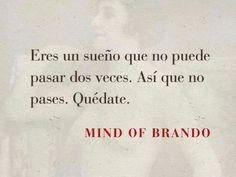 Eres un sueño que no puede pasar dos veces. Así que no pases. Quédate. -Mind of Brando