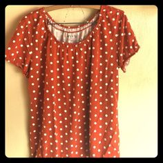 Orange and white polka dot top Cute orange and white polka dotted top. From Cato. Comes with gold and silver necklace as in second picture. Cato Tops