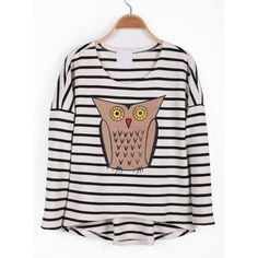 Black White Striped Long Sleeve Owl Print T-Shirt$46.00 ($46) ❤ liked on Polyvore