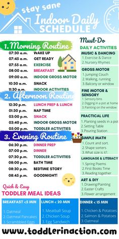 Simple Indoor Daily Toddler Schedule Well, it seems that no matter where you are right now in the world, sooner or later this year you will need a simple INDOOR Daily Toddler Schedule. Daily Routine Activities, Toddler Learning Activities, Infant Activities, Daily Routines, Child Development Activities, Wellness Activities, Toddler Development, Summer Activities, Autistic Toddler