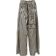 Monse Striped duchesse silk-satin wide-leg pants (14,255 MXN) ❤ liked on Polyvore featuring pants, bottoms, trousers, black, tie waist trousers, striped pants, striped wide leg trousers, tie waist pants and wide leg trousers