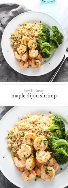 Ready in 10 minutes, this Low FODMAP Maple Dijon Shrimp is a quick, sweet and savory twist on plain shrimp. It's also gluten free and dairy free. Lunch Recipes, Seafood Recipes, Diet Recipes, Cooking Recipes, Healthy Recipes, Ibs Recipes Dinner, Potato Recipes, Cooking Ideas, Vegetable Recipes