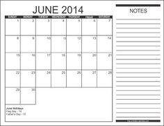 june 2014 calendar printable free | 2014 Free Printable Calendars - Style 2