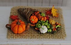 Miniature Cornucopia Basket  With Beautiful Fruits, And A Pumpkin Teapot - Perfect For Your Mini Thanksgiving Table