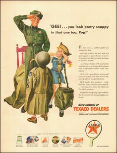 1945-Texaco`Art, Attendant, children-WWII era-Vintage Ad ~