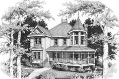 This victorian design floor plan is 2340 sq ft and has 3 bedrooms and has bathrooms. Victorian House Plans, Victorian Design, Victorian Homes, Victorian Fashion, Country Style House Plans, Craftsman Style House Plans, House Plans 3 Bedroom, Sims House Plans, Log Home Plans