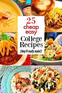 Easy college recipes for dorm kitchen or apartment cooking! Most are one pot dinners and cheap! Healthy College Meals, Cheap Healthy Dinners, Cheap Easy Meals, Cheap Recipes, Budget Recipes, Recipes For College Students, College Recipes, Easy Recipes For Beginners, Cooking For Beginners