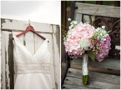 A couple's love story accompanies this pink and white Southern shabby chic wedding chockfull of amazing and handmade details.