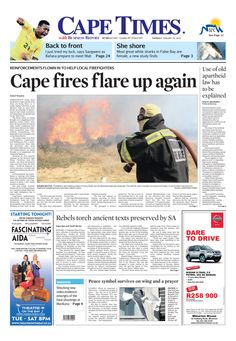 News making headlines: Cape fires flares up again
