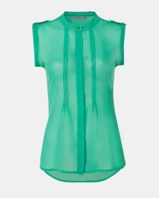Pleated chiffon blouse for work