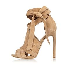 Beige suede tie up shoe boots - heeled sandals - shoes / boots - women