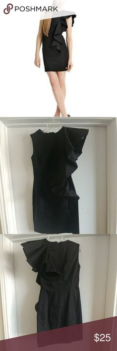 French Connection LBD Ultra chic black draped ruffle sleeve dress. Great condition. Worn once. French Connection Dresses Mini