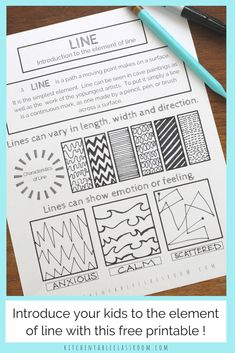 Types of Lines in Art- A Free Element of Line Printable - The Kitchen Table Classroom Line in art is an fun and easy place to start teaching art for kids.Teach the element of line & all the elements of art with this series of free printables. Line Art Lesson, Art Lesson Plans, Art Lessons For Kids, Art Lessons Elementary, Elements Of Art Line, Types Of Lines Art, Different Types Of Lines, Line Art Projects, Color Wheel Projects