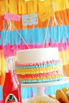 Take a look at the wonderful ruffle birthday cake with 'papel picado' bunting at this Mexican fiesta!! See more party ideas and share yours at CatchMyParty.com Colorful Birthday Cake, Girls Birthday Party Themes, Girl Birthday, Fiesta Cake, Fiesta Party, Paper Lanterns Party, Construction Birthday Parties, Bridal Shower Cakes, Birthday Cake Decorating