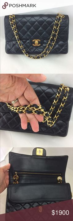 Authentic Chanel double flap Excellent condition bag will be authenticated by posh before shipping .vintage bag pre hologram sticker.medium size .black lambskin CHANEL Bags Shoulder Bags