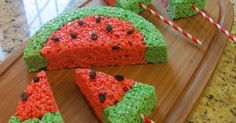 Sprinkle Some Sunshine!: watermelon rice krispies treats party!