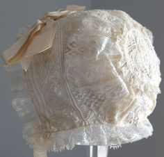 Antique/vintage 19th c. fine Ayreshire work and lace baby bonnet - doll    | eBay