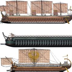 Cataphract hellenistic ''Penteres'' warship Galleys of ptolemaic kingdom, with siege towers and catapults on deck - 2nd Century B.C.