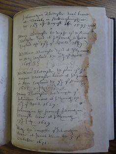 """A page from the """"Brewster Book,"""" containing some of the family birth and death records for William and Mary Brewster and their children."""