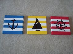 nautical themed striped canvas art