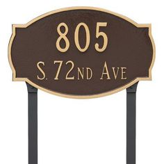 Montague Metal Products Cambridge Two Line Address Plaque Finish: Brick Red/Gold
