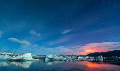 Bardarbunga Volcano Lights Up the Sky at Jokulsarlon Lagoon, Iceland