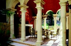 These columns are featured in a Mediterranean style villa.  I love this outdoor space.