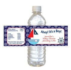 Nautical Baby Boy Shower Water bottle labels - set of 12 waterproof #BabyShower