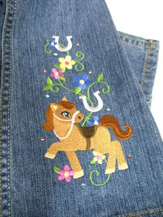 Embroidery Library Projects - Machine Embroidery Designs Inspired Project Page. How to embroider jeans.