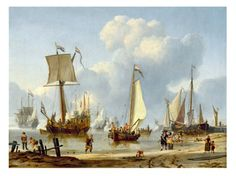 Ships in Calm Water with Figures by the Shore by Storck, Abraham Pirate Treasure, Nautical Art, 17th Century, Sailing Ships, Painted Canvas, Paintings, Fine Art, Tall Ships, Art Prints