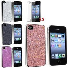 Amazon.com: eForCity 4 Bling Glitter Hard Case Skin compatible with iPhone® 4 4G Version iPhone® 4S - AT, Sprint, Version 16GB 32GB 64GB, with 2 screen protector free: Cell Phones & Accessories