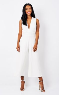 White Deep V Culotte Jumpsuit