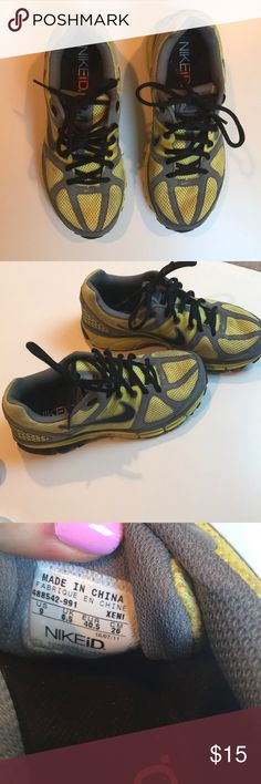 Custom NikeID sneakers Moderately used CUSTOM Nike ID sneakers. Yellow, black and grey coloring. Great fit, very secure for hiking, running, etc. Nike Shoes Sneakers